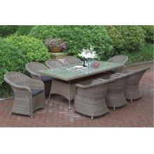 233 / Liz.p24- 9PC OUTDOOR PATIO TABLE SET [P50272(1)+P50135(8)]