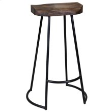 Gavin  20in X 16in X 30in Sculpted Bar Stool  Solid Acacia Seat & Black Wrought Iron Base