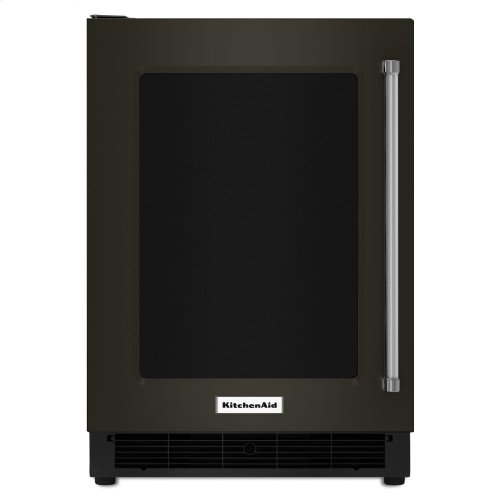 """24"""" Undercounter Refrigerator with Glass Door and Metal Trim Shelves - Stainless Steel with PrintShield™ Finish"""