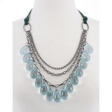 BTQ Blue Crystal Teardrop Necklace