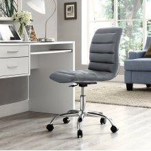 Ripple Armless Mid Back Vinyl Office Chair in Gray