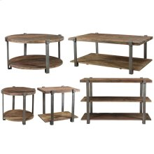 Console Table - Patina Wood/black Metal Finish