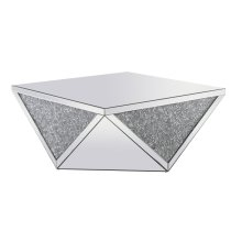 38 inch Square Crystal Coffee Table Silver Royal Cut Crystal