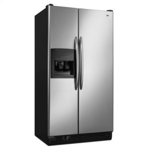 25 cu. ft. Side-by-Side Refrigerator (This is a Stock Photo, actual unit (s) appearance may contain cosmetic blemishes. Please call store if you would like actual pictures). This unit carries our 6 month warranty, MANUFACTURER WARRANTY and REBATE NOT VALID with this item. ISI 34656
