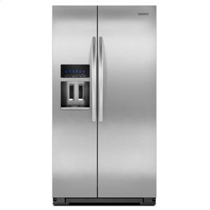 Monochromatic Stainless Steel KitchenAid® 23 Cu. Ft. Counter-Depth Side-by-Side Refrigerator, Architect® Series II