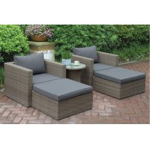 402 / Liz.p27- 5PC OUTDOOR PATIO SOFA SET [P50147(2)+P50145(2)+P50262(1)]