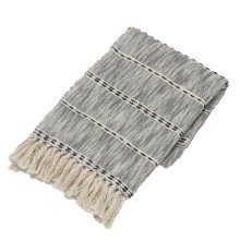 Blue & Natural Melange Striped Slub Woven Throw