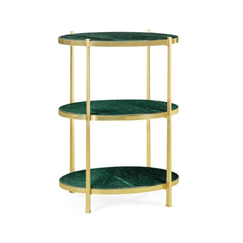 Green Napoly marble & polished solid brass three-tier table (Large)