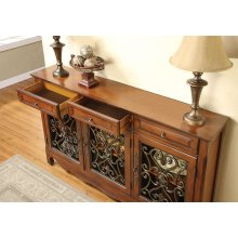 """Walnut"" 3-Door Scroll Console"