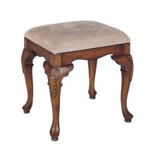 "Jamestown Landing ""Deep Cherry"" Bench with Beige Chenille Fabric - Overpacked"