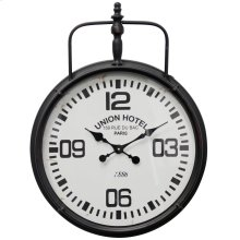 Metal & Glass Wall Clock  18in X 23in X 2in