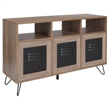 "Woodridge Collection 44""W 3 Shelf Storage Console\/Cabinet with Metal Doors in Rustic Wood Grain Finish"