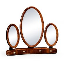 Art Deco style triple dressing mirror with brass