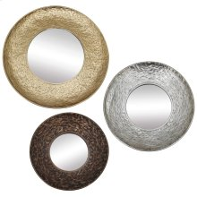 REGINA MIRROR - SET OF 3  Gold Silver and Bronze Finish on Metal Frame  Plain Glass Beveled Mirr