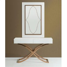A&X Aversa Modern White Crocodile Console Table & Mirror