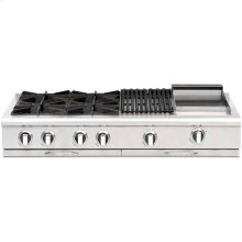 """48"""" Gas Range Top with 4 Open Burners,24"""" Thermo-Griddle"""