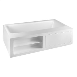 "Freestanding bathtub in Cristalplant® (matt white) L 5' 10-7/8"" W 3' 3-3/8"" H 1' 9-11/16"" with side ledge Product Image"