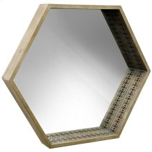 Wooden Framed Mirror with Cutouts  28in X 32in X 4in  Framed Wall Mirror