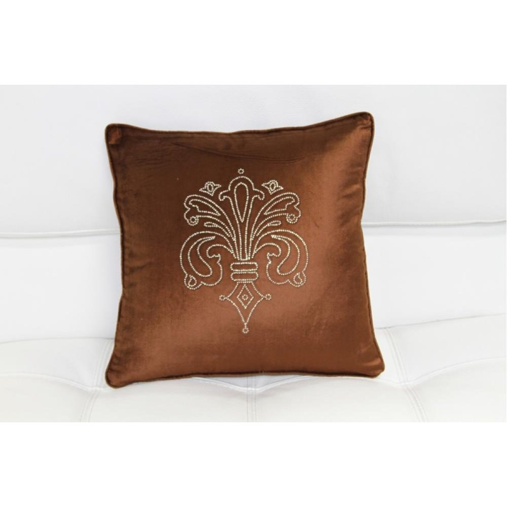 Modrest Brown Elegant Faux Crystal Throw Pillow