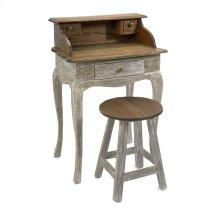 Aurelia Mahogany Wood Desk and Stool - Set of 2
