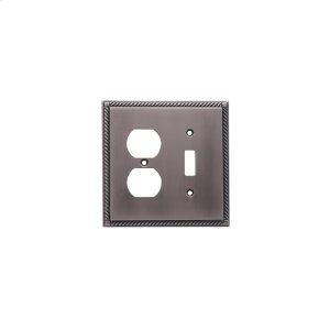 Single Toggle/Single Duplex Arlington Switch Plate - Matte Pewter Product Image