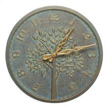 """Tree of Life 16"""" Indoor Outdoor Wall Clock - Bronze Verdigris"""