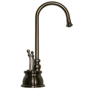 Point of Use instant hot and cold water faucet with a gooseneck spout and a self-closing hot water handle. Product Image