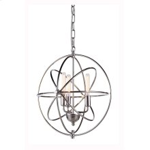 """1453 Vienna Collection Chandelier D:17"""" H:19"""" Lt:3 Polished Nickel Finish"""