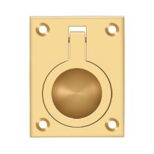"Flush Ring Pull, 2 1/2""x 1 7/8"" - PVD Polished Brass"