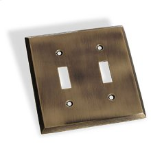 Double Toggle Square Bevel Switch Plate - Antique Brass