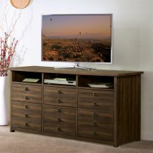 Perspectives - Entertainment File Cabinet - Brushed Acacia Finish