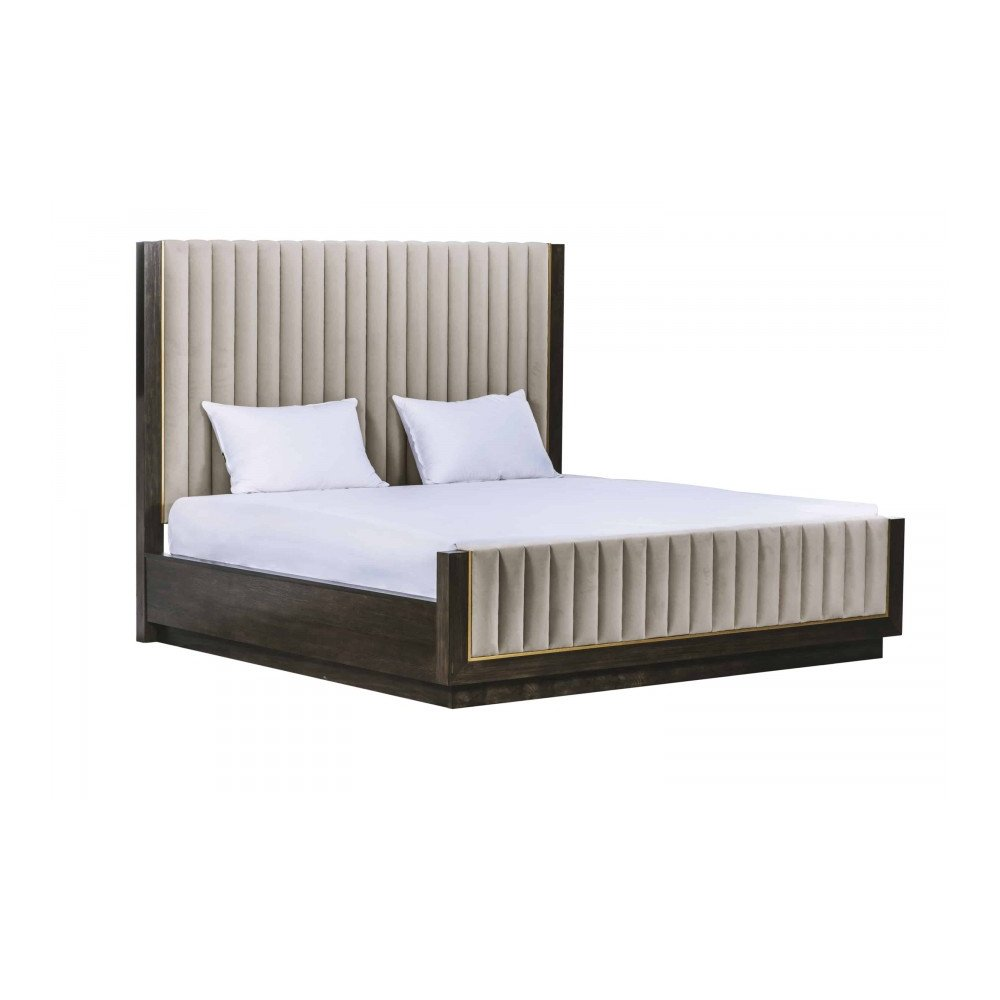 WoodWright Lloyd Brown Mulholland Upholstered Queen Bed