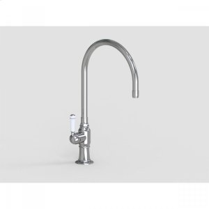 """Brushed Stainless - 10"""" Deck Mount Single Hole Swivel Bar Faucet Spout with Left White Ceramic Traditional Lever Product Image"""