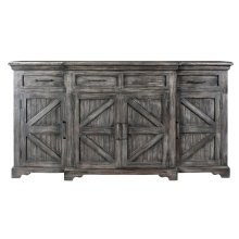 Bengal Manor Mango Wood Breakfront 4 Door 4 Drawer Black Wash Sideboard