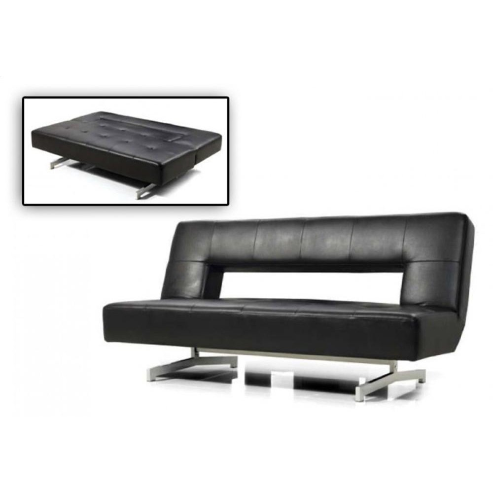 Divani Casa Wilshire - Modern Fold-Out Black Leatherette Sofa Bed