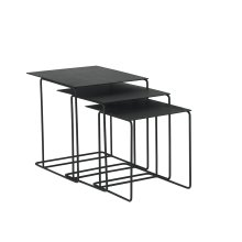 Carbon Traverse Metal Top Nesting Tables - Set/3