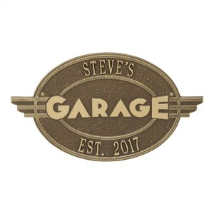 Moderno Garage Personalized Plaque - Antique Brass Product Image
