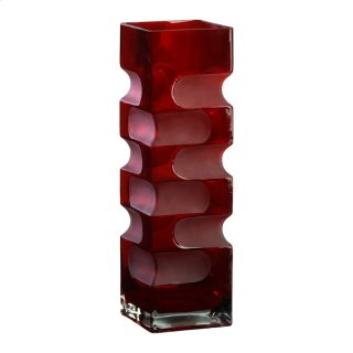 Large Ruby Etched Vase