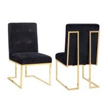 Akiko Black Velvet Chair - Set of 2
