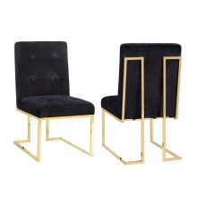 Akiko Black Velvet Chair - Set of 2