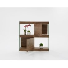 Modrest Aura Modern Walnut & Glass Square Cabinet