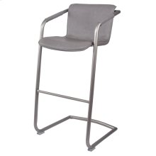 Indy PU Bar Stool Silver Frame, Antique Graphite Gray