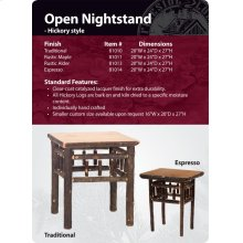 Hickory Open Nightstand