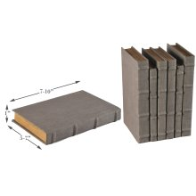 Heather Gray Linen Books, Set/6