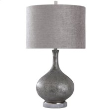 LOGAN TABLE LAMP  Pewter Finish on Ceramic Body with Crystal Base  Hardback Shade  150 Watt  3-w