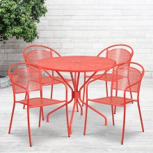 "Commercial Grade 35.25"" Round Coral Indoor-Outdoor Steel Patio Table Set with 4 Round Back Chairs"