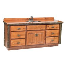 Vanity with Top - 60-inch - Natural Hickory - Sink Left - Liquid Glass