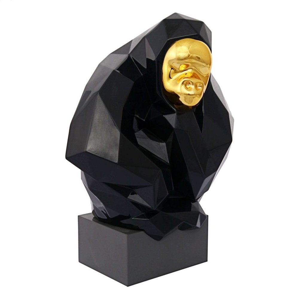 Pondering Ape Sculpture - Black and Gold