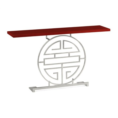 Silver Oriental Medallion Emperor Red Console Table
