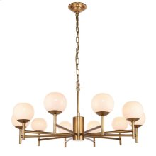 EVERETT CHANDELIER  Milk Glass Globes with Brass Finished Metal